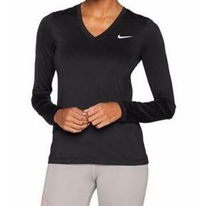 Nike Legend V Neck LS Pullover Shirt Top Black .S